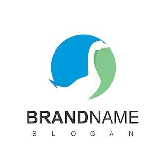 Gans logo silhouet op cirkel blauwe en groene achtergrond Premium Vector