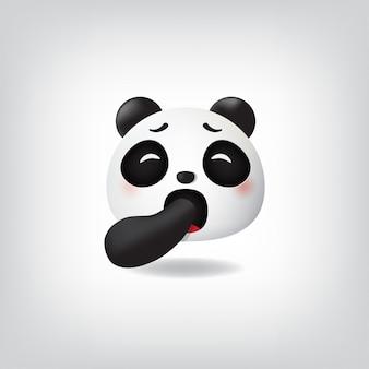 Gapende gezicht panda emoticon met gesloten ogen mond bedekt met de hand
