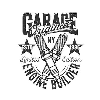 Garage, auto en motor op maat gemaakt t-shirt prin