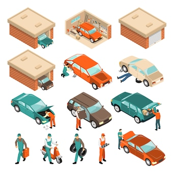 Garage isometrische set