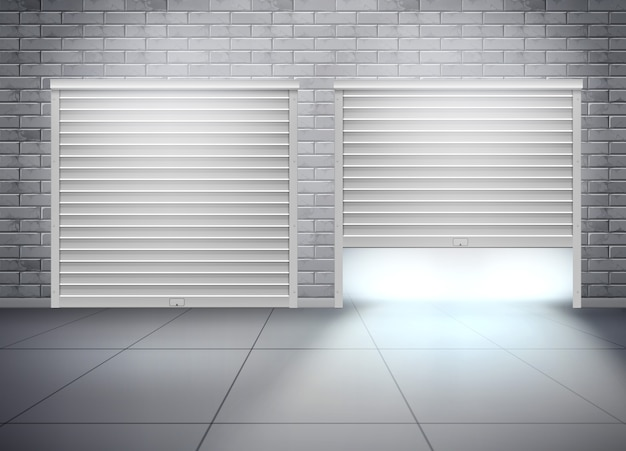 Garage met twee ingangen in grijze bakstenen muur. realistische compositie met openslaande deur