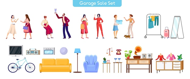 Garageverkoop illustraties set