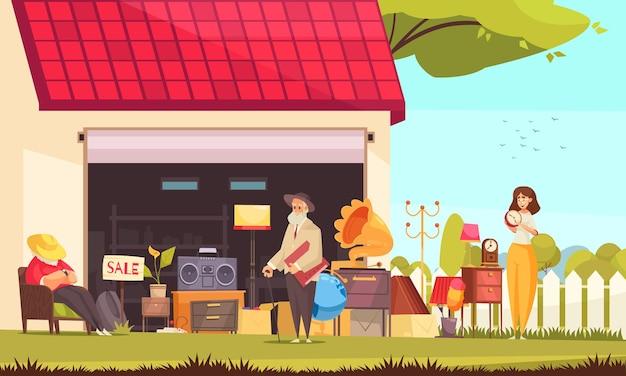 Garageverkoop met plat meubilair en accessoiresymbolen