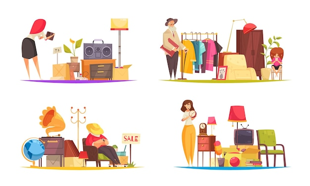 Garageverkoop set met kleding en personeel plat geïsoleerd