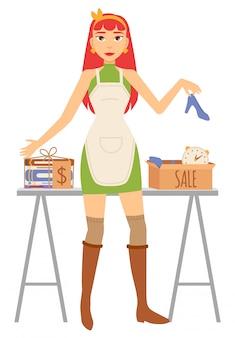 Garageverkoop van accessoire, vrouw verkoper vector