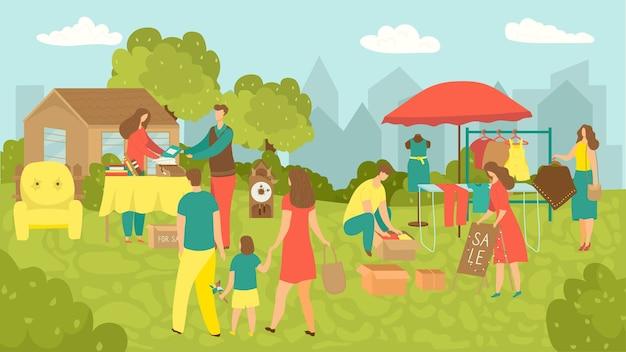 Garageverkoop van troep spullen in tuin illustratie. mensen kopen en verkopen huishoudelijke artikelen, kleding, sportartikelen en speelgoed. oude vintage dingen, voorwerpen en meubels garage sale op rommelmarkt.