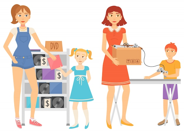 Garageverkoopmensen die tweedehands items vector verkopen