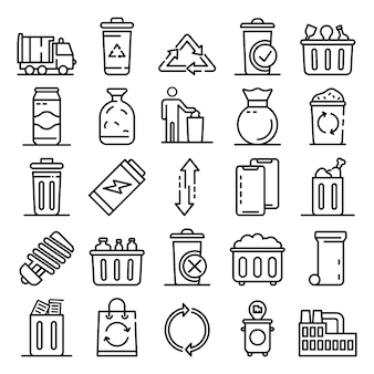 Garbage icons set, kaderstijl