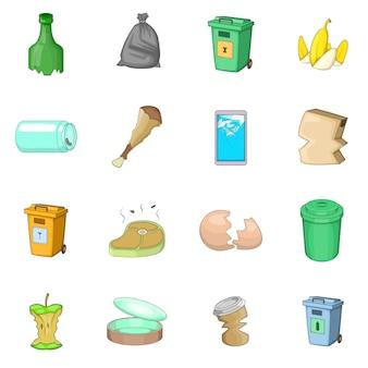 Garbage items icons set