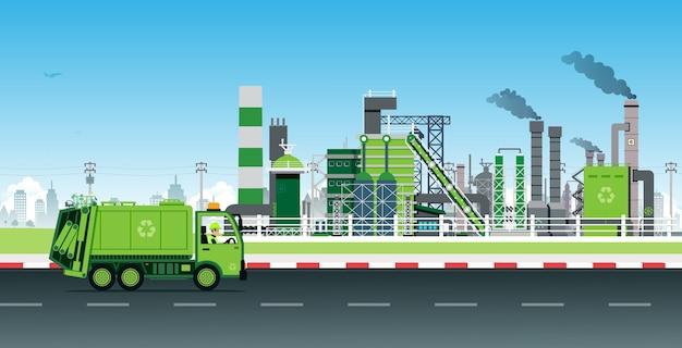 Garbage truck recyclet afval in fabrieken tot elektriciteit.
