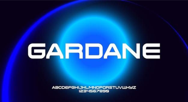 Gardane, een breed en gewaagd futuristisch alfabetlettertype met technologiethema. modern minimalistisch typografieontwerp