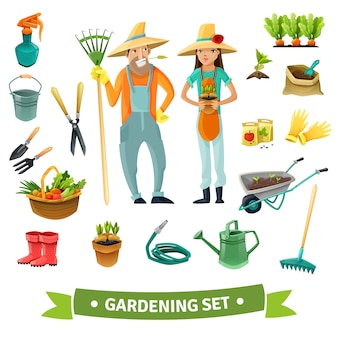 Gardening cartoon set