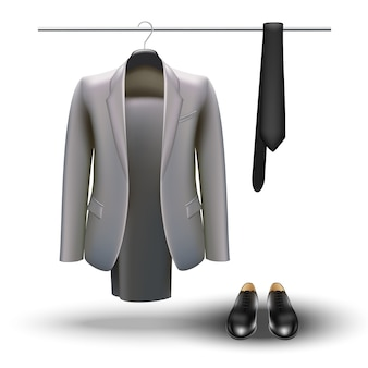 Garderobe concept. zakenman essentials, grijs pak, stropdas en zwarte schoenen