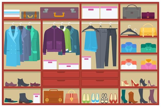 Garderobe kamer vol met kleding.