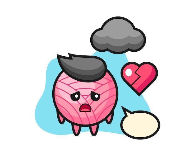 Garenbal cartoon is gebroken hart