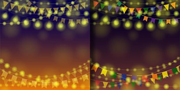 Garland festival achtergronden ingesteld voor sjablonen met tekstplaats