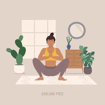Garland pose jonge vrouw die yoga pose beoefent