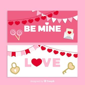 Garland valentijnsdag banner