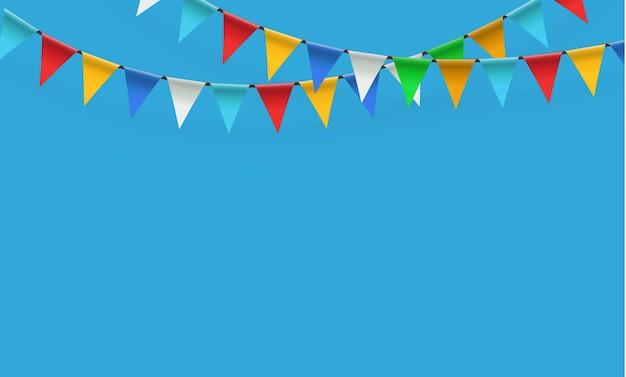 Garland van driehoekige vlaggen voor verjaardag, vakantie, feest.