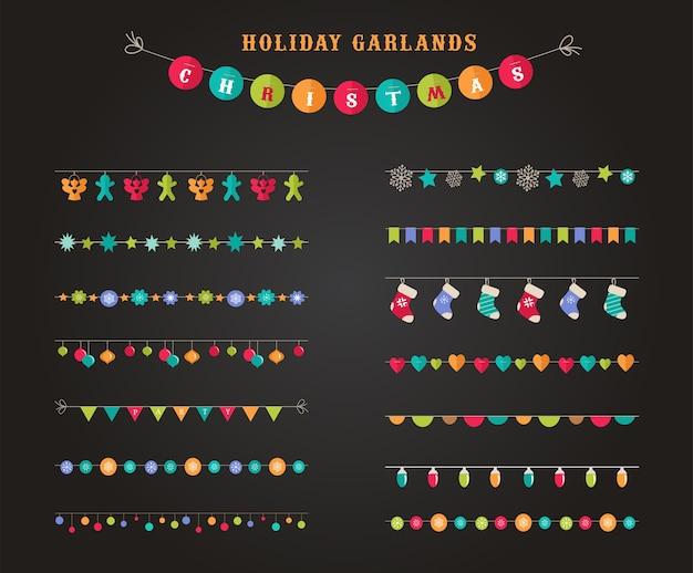 Garland - verzameling patronen, penselen, randen voor kerstmis en feest