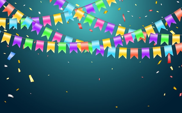 Garland vlag en confetti in feest en plezier concept. viering achtergrond sjabloon.