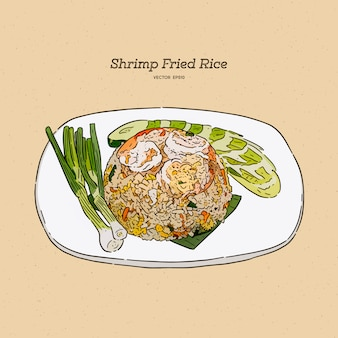 Garnalen ontslagen rijst, hand tekenen schets