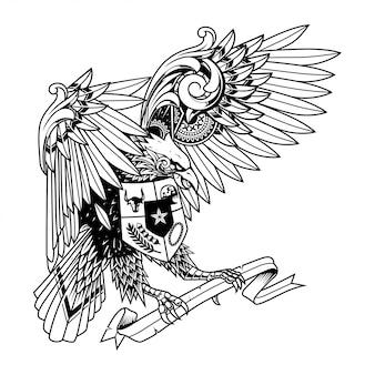 Garuda doodle ornament illustratie, tatoeage en t-shirt design