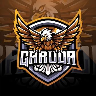 Garuda esport mascotte logo ontwerp