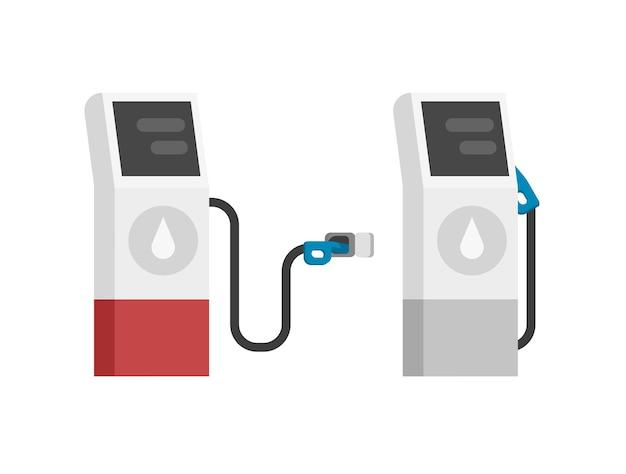 Gas benzine tankstation moderne geïsoleerde platte cartoon afbeelding