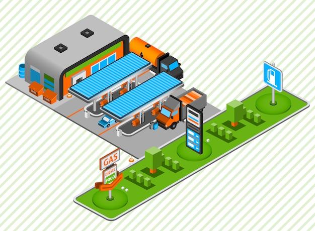 Gas diesel brandstof station isometrische samenstelling