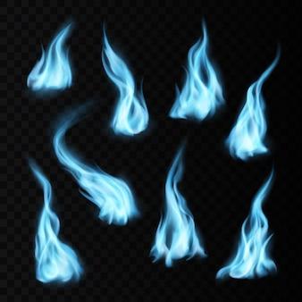 Gas realistische blauwe vuurvlammen en paden met lange brandende tongen. vector natuurlijke fossiele verbranding, magische blaze 3d-effect, gloeiende glanzende flare ontwerpelementen instellen geïsoleerd op transparante achtergrond