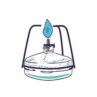 Gasbrander geïsoleerd op een witte achtergrond. handgetekende laboratoriumapparatuur voor verwarming en verbranding. lab-tool voor wetenschappelijk experiment. realistische vectorillustratie in elegante vintage stijl.