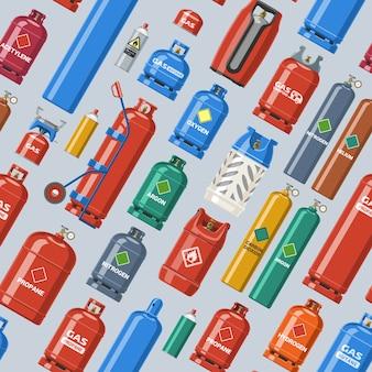 Gasfles lpg-gasfles en gasfles illustratie set van cilindrische container met vloeibare samengeperste gassen