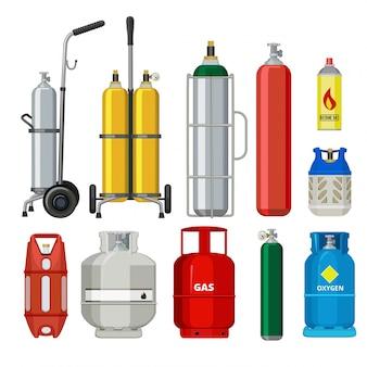 Gasflessen. butaan helium acetyleen propaan metalen tank cilinder aardolie station gereedschap illustraties