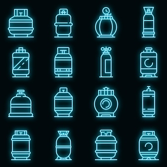 Gasflessen pictogrammen instellen. overzicht set gasflessen vector iconen neon kleur op zwart