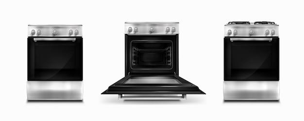 Gasfornuis en inductie kookplaat met elektrische oven met open en gesloten deur op wit wordt geïsoleerd