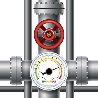 Gasleidingklep, drukmeter. doorvoer en industriële manometer, controle en meting.