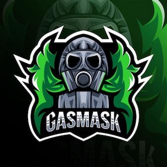 Gasmask mascotte logo esport ontwerp