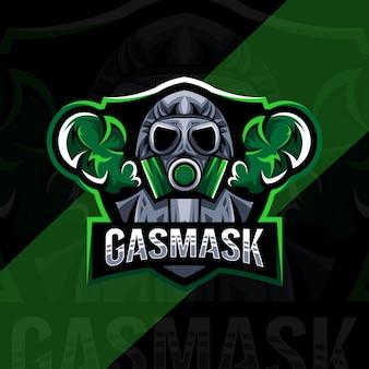 Gasmask mascotte logo esport ontwerp Premium Vector