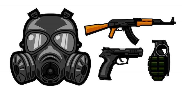 Gasmasker en wapensontwerp voor militairen