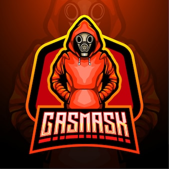 Gasmasker esport logo mascotte ontwerp