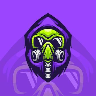 Gasmasker mascotte illustratie