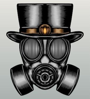Gasmasker met in hand getrokken hoed