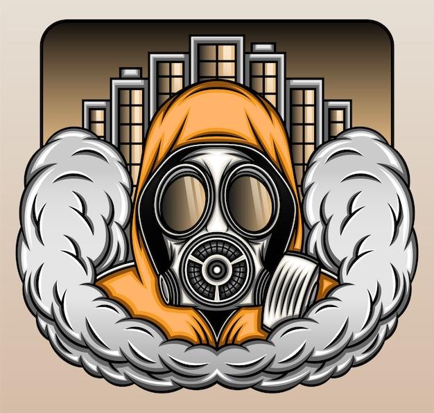 Gasmasker met rook in de stad.