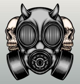 Gasmasker met schedel.