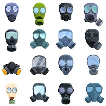 Gasmasker pictogrammen instellen. cartoon set gasmasker iconen voor web