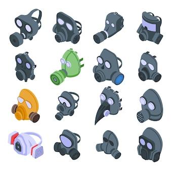 Gasmasker pictogrammen instellen. isometrische set van gasmasker iconen voor web