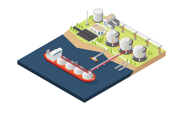 Gasschip laadt aardgas in de opslagtank