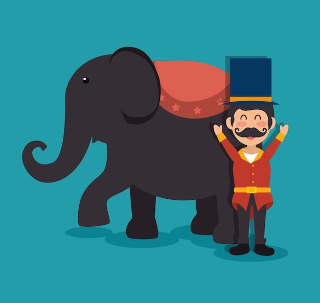 Gastheer olifant circusvoorstelling festival kermis