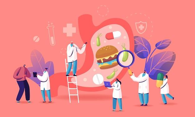 Gastro-enterologie concept. man karakter lijden aan buikpijn en de ziekte van helicobacter.